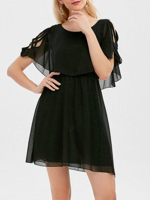 Ruffle Overlay Strappy Chiffon Cold Shoulder Dress - BLACK XL