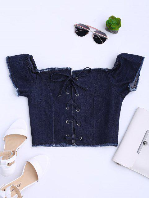 Off The Shoulder Lace Up Frayed Denim Top - PURPLISH BLUE L