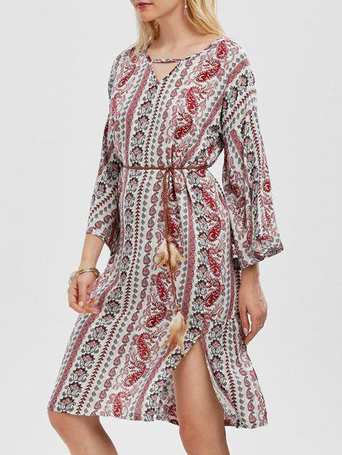 Paisley Print Side Slit Belted Dress - COLORMIX ONE SIZE