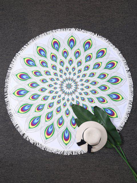 Peacock Feather Round Fringed Beach Throw - COLORMIX ONE SIZE
