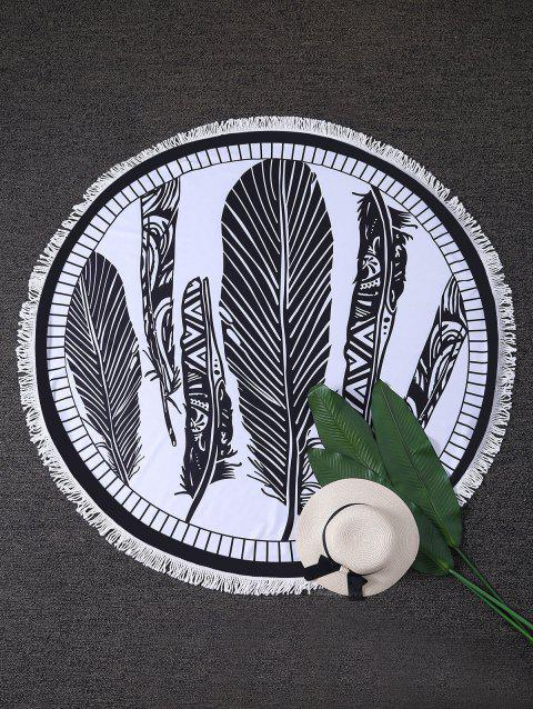 Feather Print Round Beach Throw with Fringes - WHITE/BLACK ONE SIZE