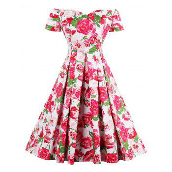 Off Shoulder High Waist Rose Vintage Dress