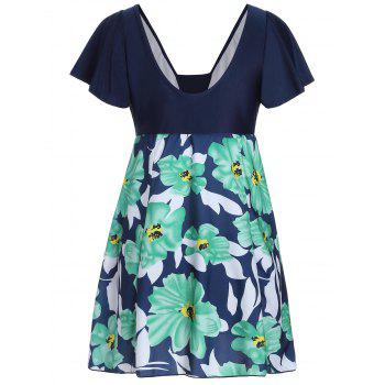 High Waisted Floral Plus Size Skirted Swimsuit - GREEN 6XL
