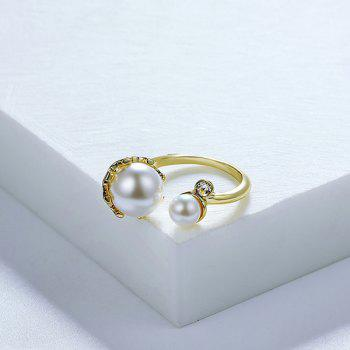 Rhinestone Faux Pearl Gold Plated Cuff Ring -  GOLDEN