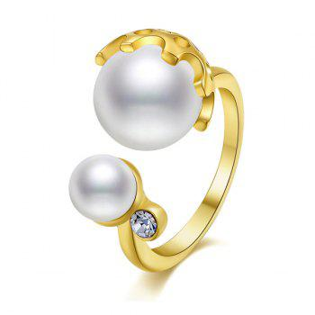 Rhinestone Faux Pearl Gold Plated Cuff Ring - GOLDEN GOLDEN