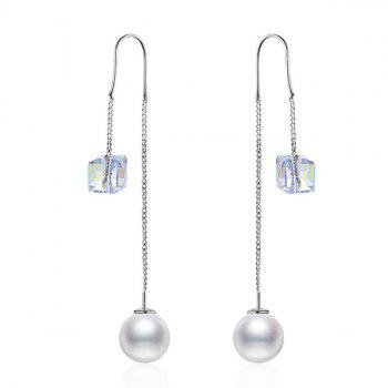 Faux Pearl Cyrstal Chain Drop Earrings