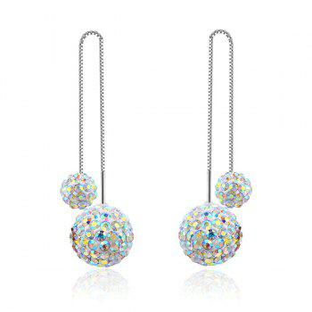Chain Embellished Rhinestoned Ball Drop Earrings