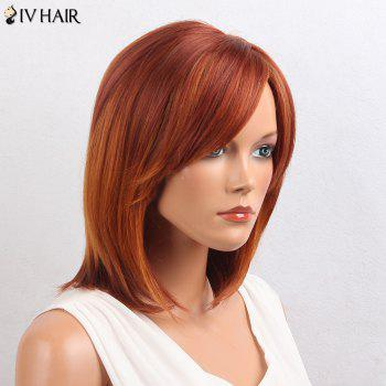 Siv Hair Oblique Bang Straight Bob Short cheveux humains perruque - ORANGE ET JAUNE