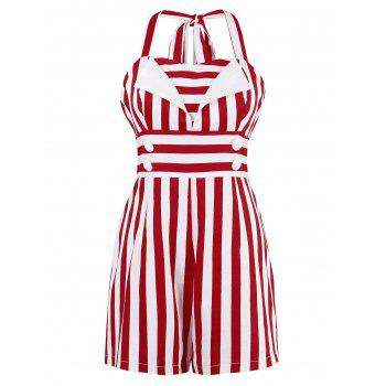 Stripe Halter Empire Waist Romper with Button