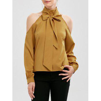Bow Neck Cold Shoulder Chiffon Top