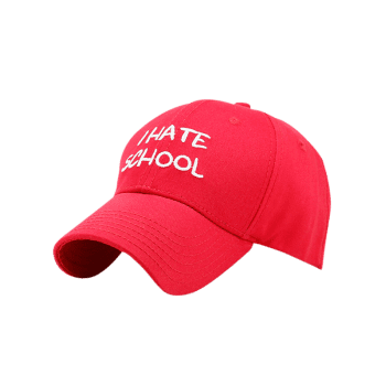 I Hate School Embroideried Baseball Hat -  RED