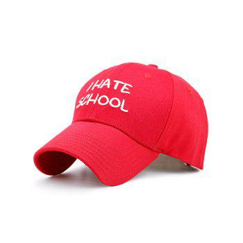 I Hate School Embroideried Baseball Hat - RED RED