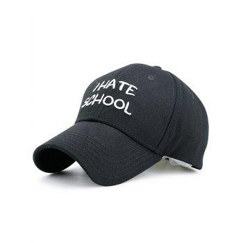 I Hate School Embroideried Baseball Hat - BLACK BLACK