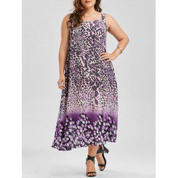 Plus Size Sleeveless Leopard Print Chiffon Dress