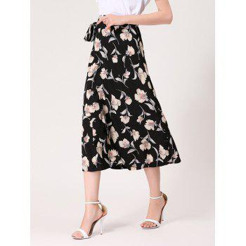 Midi Wrap Skirt with Flower Print