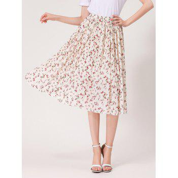 High Waist Tiny Floral Print Midi Skirt
