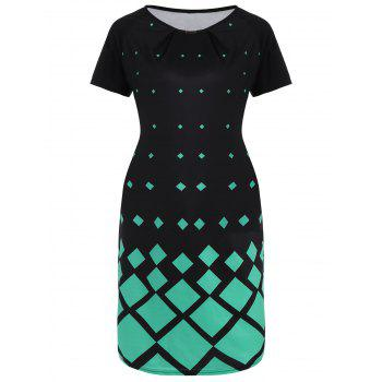 Geometric Print Plus Size Knee Length Dress