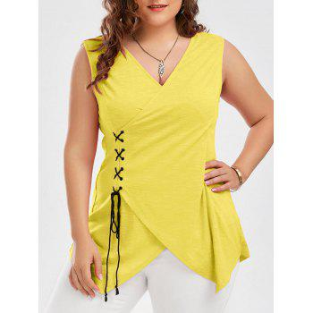 Plus Size Lace Up Surplice Tank Top