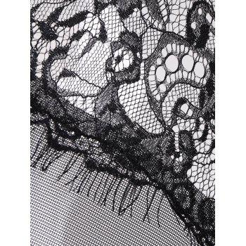 Underwire See-Through Lace Cami Teddy - BLACK M