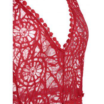 Plunging Neck See-Through Mesh Bodysuit - RED L