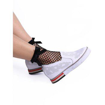 Fish Mesh Ankle Socks with Side Bowknot - BLACK