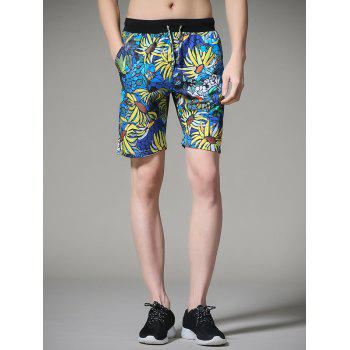 Flower Printed Drawstring Board Shorts - COLORMIX COLORMIX