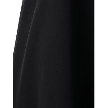Chiffon Asymmetrical Beaded Dress - BLACK M