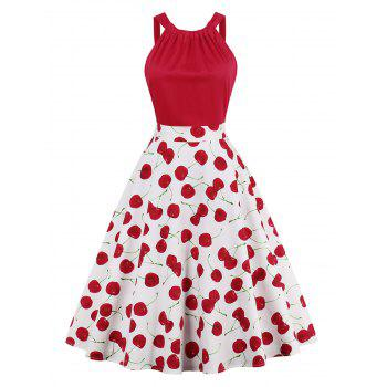 Cherry Print High Waisted Pin Up Dress