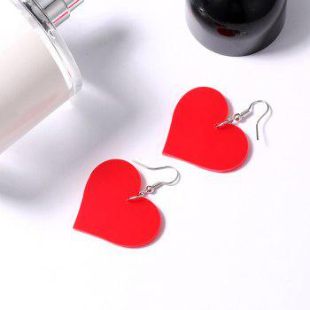 Heart Drop Earrings - RED