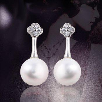 Rhinestone Floral Shape Artificial Pearl Drop Earrings