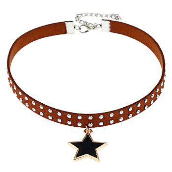 Star Rivet Faux Leather Choker Necklace