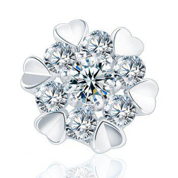 Heart Floral Design Artificial Diamond Stud Earrings