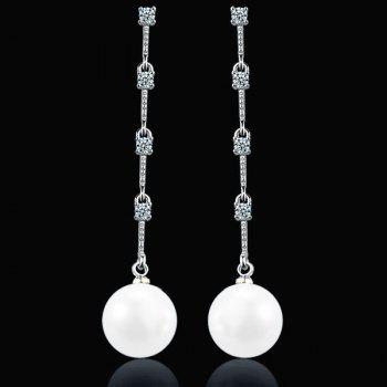 Artificial Pearl Link Chian Rhinestone Drop Earrings