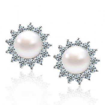 Artificial Pearl Rhinstone Sun Design Stud Earrings