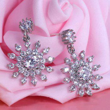Rhinestone Alloy Floral Shape Drop Earrings
