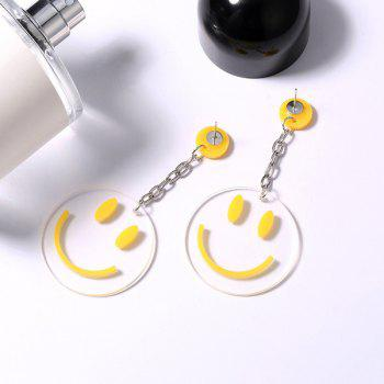 Round Transparent Smiling Face Drop Earrings -  YELLOW