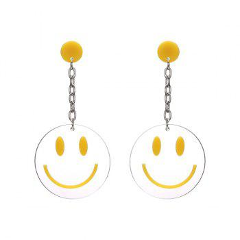 Round Transparent Smiling Face Drop Earrings - YELLOW YELLOW