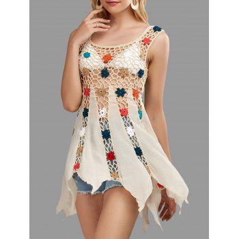 Floral Crochet Tunic Cover Up Top