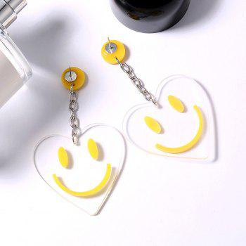 Smile Face Heart Design Drop Earrings