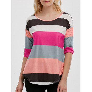 Color Block Striped Tunic Tee