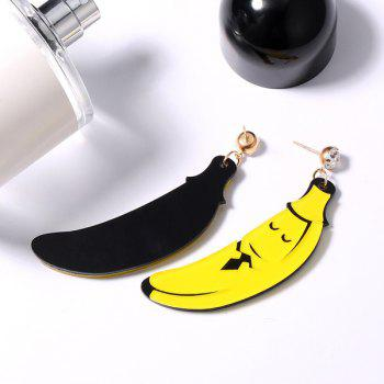 Banana Cartoon Shape Rhinestone Earrings -  YELLOW