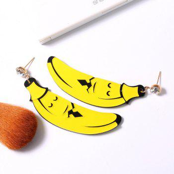 Banana Cartoon Shape Rhinestone Earrings - YELLOW YELLOW