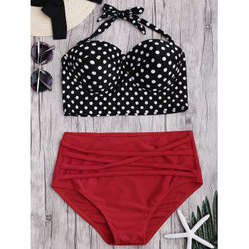 Halterneck Polka Dot High Waist Bikini Set