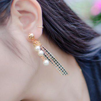 Plaid Fabric Faux Pearl Chain Earrings -  GOLDEN