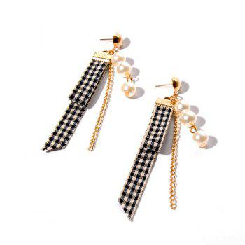 Plaid Fabric Faux Pearl Chain Earrings - GOLDEN GOLDEN