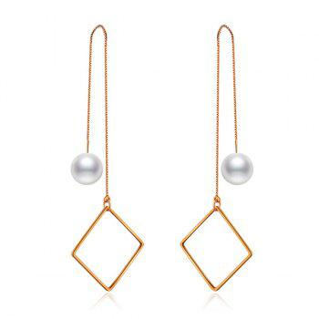 Artificial Pearl Geometric Drop Chain Earrings