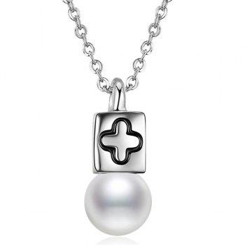 Artificial Pearl Crucifix Collarbone Necklace
