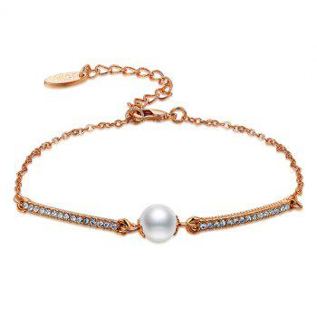 Gold Plated Rhinestone Faux Pearl Bracelet