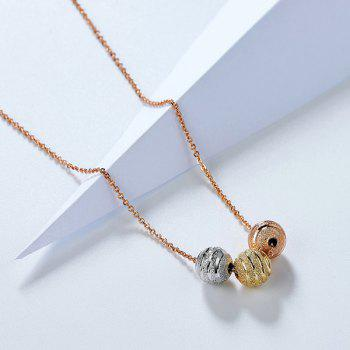 Ball Gold Plated Pendant Necklace -  ROSE GOLD