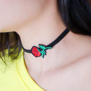 Vintage Rose Flower Embroidered Choker Necklace